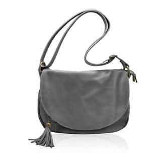 MYITALIANBAG OLGA Italian Crossbody Saddle bag two zipper compartment purse soft smooth leather Made in Italy