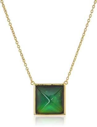 Color Changing 18k Gold Plated Bronze Square Created Crystal Modern Mood Necklace