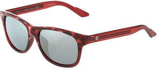 Gucci Plastic Square Sunglasses, Brown/Red