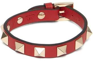 Valentino Rockstud Leather Bracelet - Womens - Red