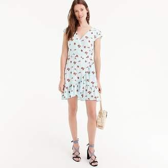 J.Crew Tall Mercantile faux-wrap mini dress in roses print