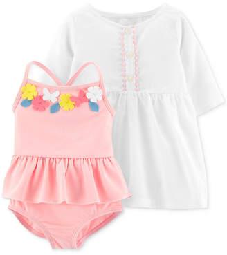 Carter's Carter Baby Girls 2-Pc. Flower Swimsuit & Cover-Up Set