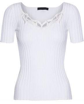 Alexander Wang Embroidered Ribbed Cotton Top