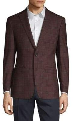 Calvin Klein Slim-Fit Plaid Wool Jacket