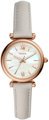 Fossil Women mini Carlie rose tone off white leather strap