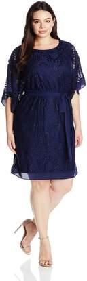 Amy Byer Women's Plus-Size Kimono Butterfly Sleeve Soft Lace Dress