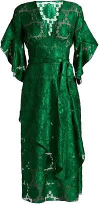Fendi V-neck floral fil-coupè dress