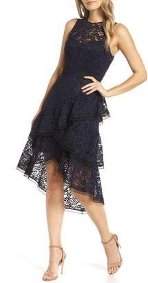 Eliza J Asymmetrical Tiered High/Low Lace Dress