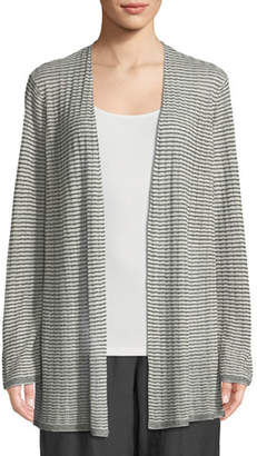 Eileen Fisher Organic Linen-Blend Striped Cardigan, Plus Size