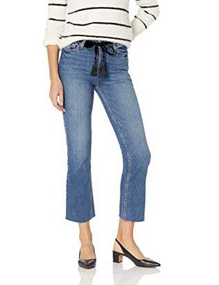 Paige Women's Colette Mid Rise Jean with Covered Button Fly and Raw Hem