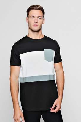 boohoo Colour Block Curve Hem T-Shirt With Pocket