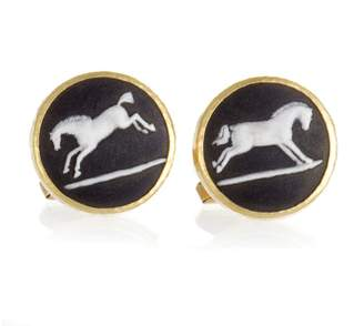 Gurhan 24K Yellow Gold Jasper Wedgwood Horse Cufflinks