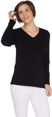 Denim & Co. Textured Knit Long Sleeve Top w/ Button Wrap Cuffs