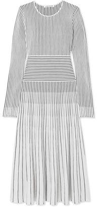 Elizabeth and James Sheridan Striped Merino Wool-blend Midi Dress - Ivory