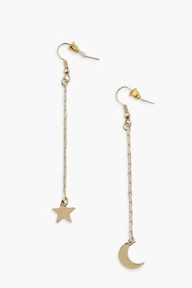 boohoo Moon And Star Drop Earrings