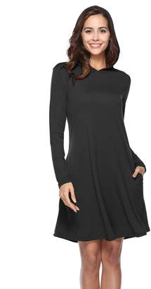 Sopsy Tunic T Shirt Dress for Women for Legging, Shift Winter Basic Hoodie Dresses L