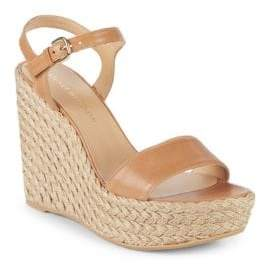 Stuart Weitzman Single Leather Wedge Espadrilles