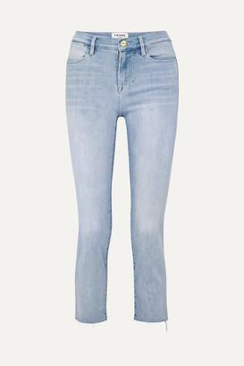 Frame Le High Cropped Frayed Straight-leg Jeans - Light denim