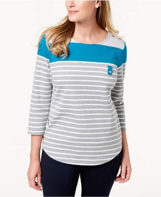 Karen Scott Petite Colorblocked Striped Top