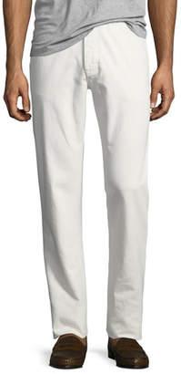 Ermenegildo Zegna Solid Denim Straight-Leg Jeans, White