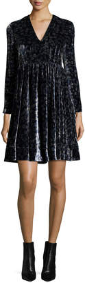 Rebecca Taylor Liane Floral Velvet Dress, Navy Combo