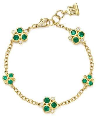 Temple St. Clair 18K Yellow Gold Emerald Trio and Diamond Bracelet