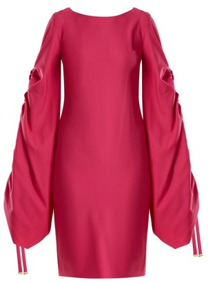Osman Talitha Gathered Sleeve Crepe Dress - Womens - Fuchsia