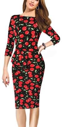 REPHYLLIS Women 3/4 Sleeve OL Working Casual Evening Party Peplum Bodycon Dress