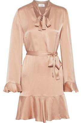 Zimmermann Pussy-Bow Ruffle-Trimmed Washed-Silk Mini Dress