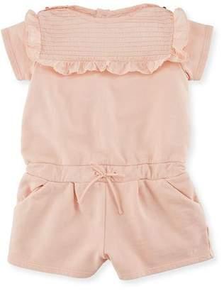 Chloé Pintucked Jersey Romper w/ Ruffles, Size 6-18 Months