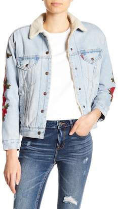 Levi's Ex-Boyfriend Faux Shearling Embroidered Denim Jacket