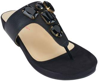 Isaac Mizrahi Live! Leather Thong Sandals with Embellishments