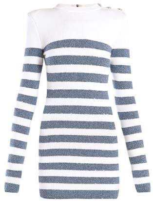 Balmain Sequinned Striped Knit Mini Dress - Womens - Blue White
