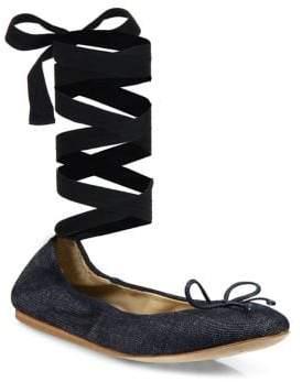 Saks Fifth Avenue Collection Denim Ankle-Wrap Ballet Flats