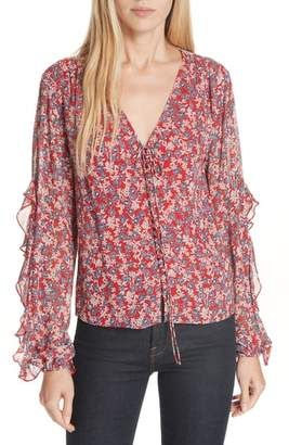Nicholas Red Blossom Silk Blouse