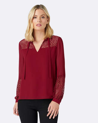 Forever New Susie Lace Tie Neck Blouse