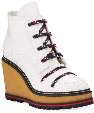Moncler Zelie Lace-Up Wedge Hiker Booties