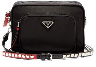 e3c8b3c1b2 Prada New Vela Mini Studded Nylon Cross Body Bag - Womens - Black Red