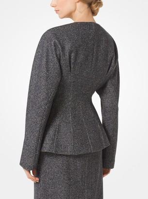 Michael Kors Herringbone Wool Zip Jacket