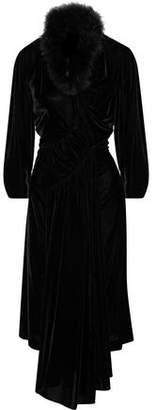 Simone Rocha Feather-Trimmed Velvet Midi Dress