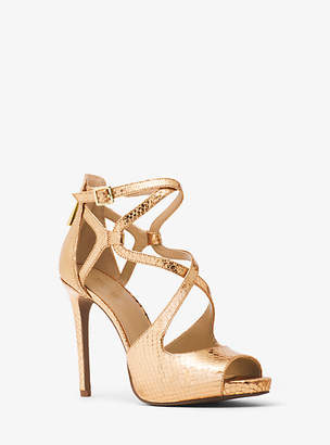 Michael Kors Catia Metallic Embossed-Leather Sandal