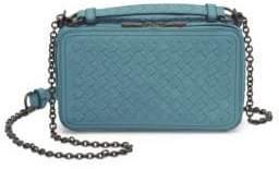 Bottega Veneta Women's Woven Leather Camera Bag - Blue