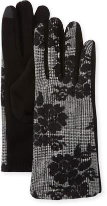 Neiman Marcus Glen Plaid Embroidery Gloves