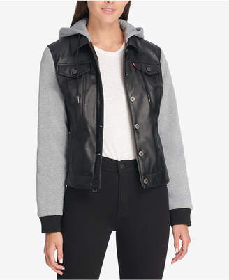 Levi's Faux Leather & Jersey Hoodie Trucker Jacket