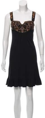 Diane von Furstenberg Embellished Wool Dress Black Embellished Wool Dress