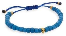 Jan Leslie Blue Onyx Beaded Skull Bracelet