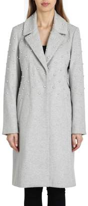 Badgley Mischka Imitation Pearl Embellished Wool Coat