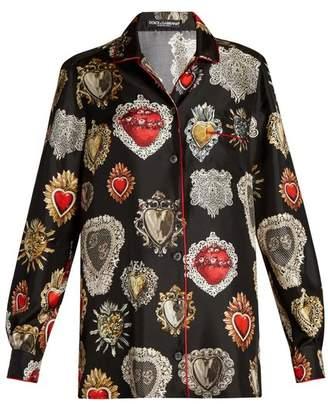 Dolce & Gabbana Heart-print point-collar silk pyjama shirt