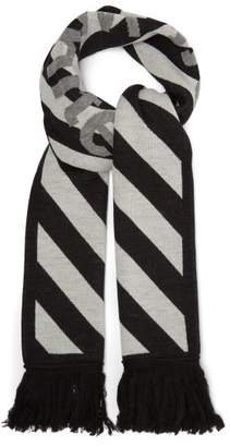 Off-White Off White Logo Intarsia Striped Scarf - Mens - Black White