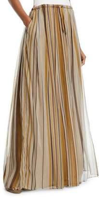 Brunello Cucinelli Striped Organza Long Skirt